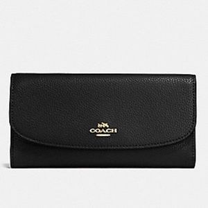 Nwt Authentic Coach Leather Black Wallet
